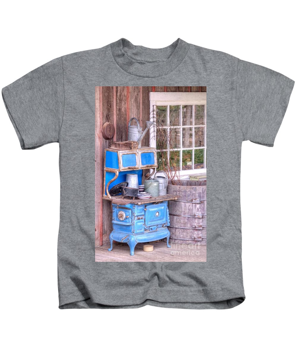 Ancient Kids T-Shirt featuring the photograph Stove Appliance Cooker Kitchen Antique by L Wright