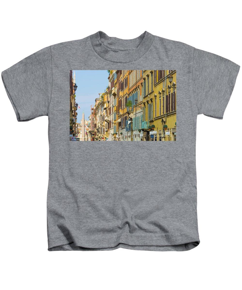 Windows Kids T-Shirt featuring the photograph Street And Obelisk by Mats Silvan