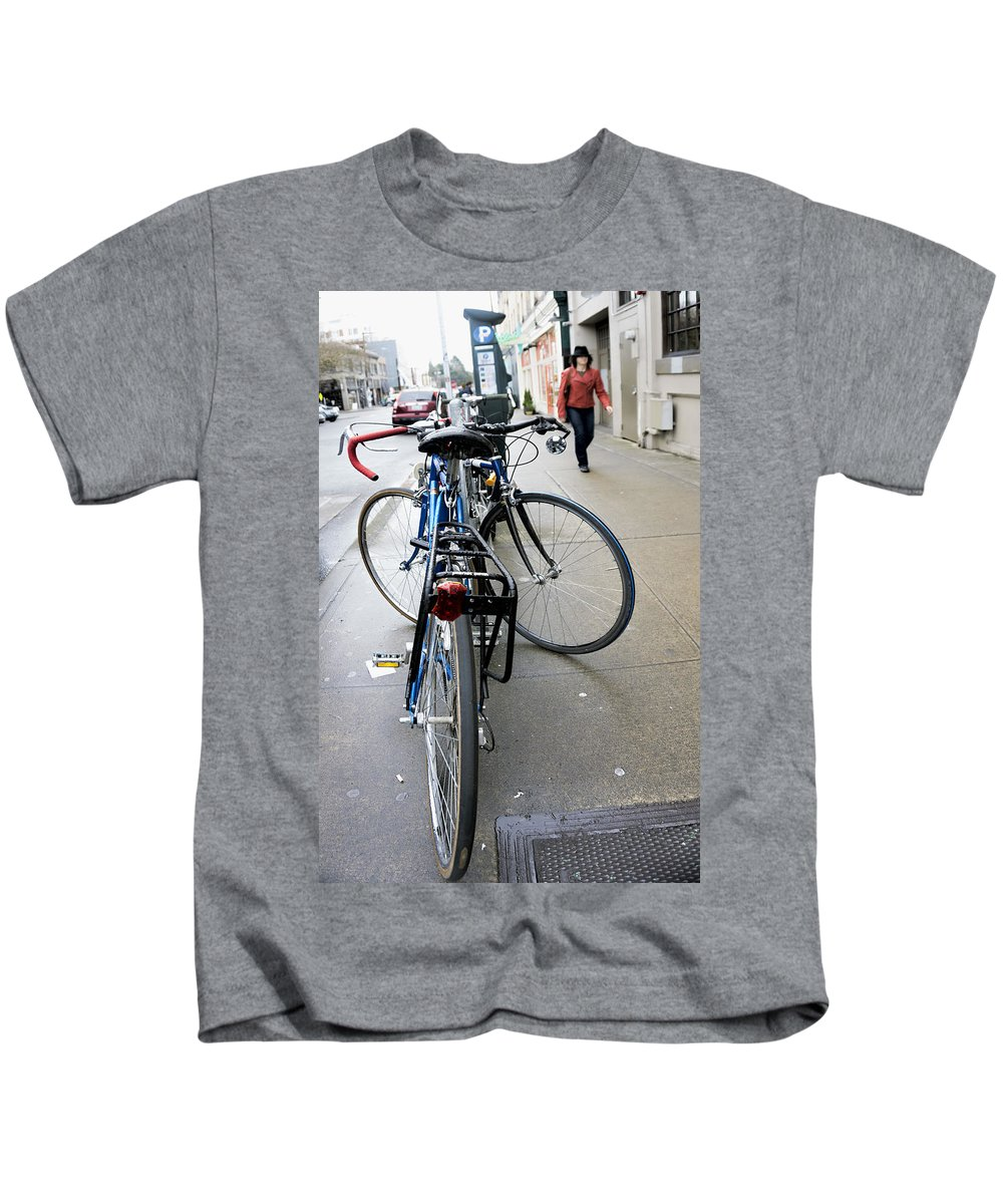 Kids T-Shirt featuring the photograph Street Bikes Seattle by Cathy Anderson