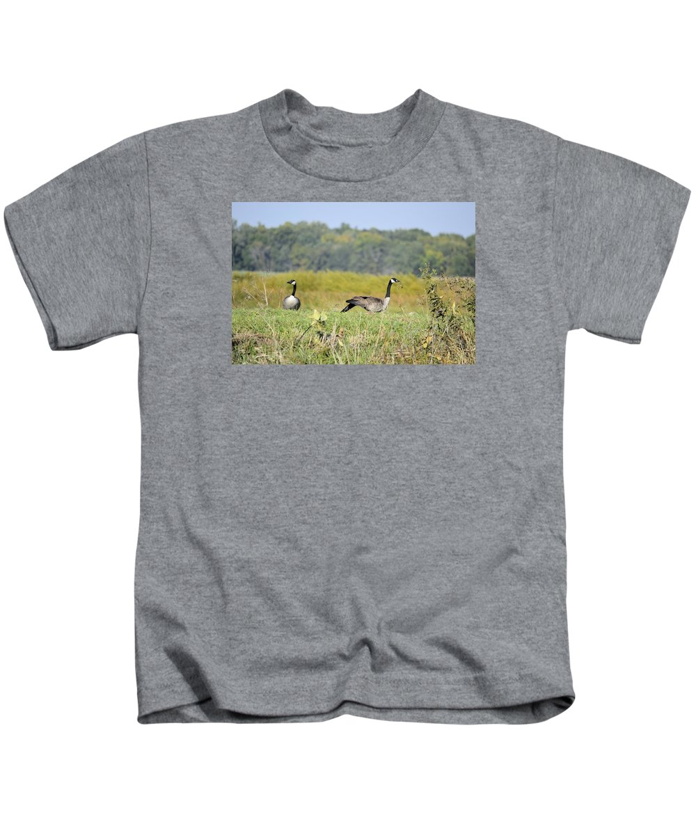 Goose Kids T-Shirt featuring the photograph Stretching Out by Bonfire Photography