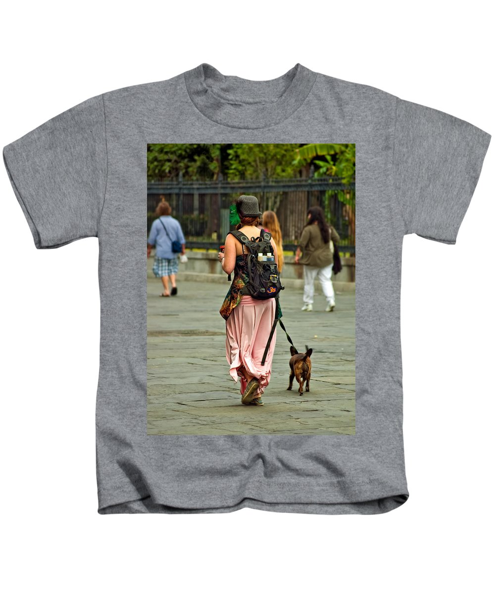 French Quarter Kids T-Shirt featuring the photograph Strolling In Jackson Square by Steve Harrington