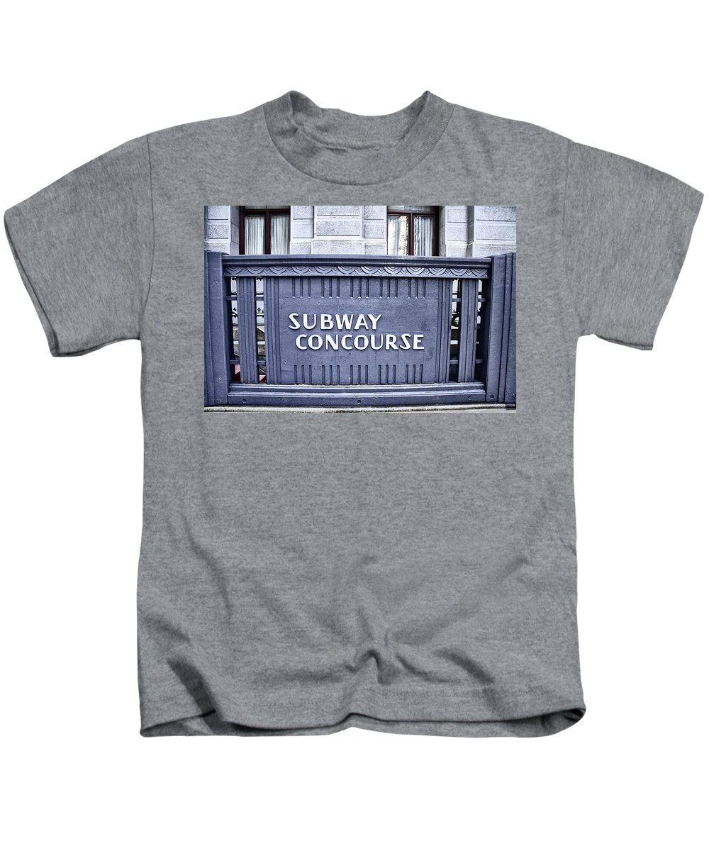 Subway Concourse At City Hall Kids T-Shirt featuring the photograph Subway Concourse At City Hall by Bill Cannon