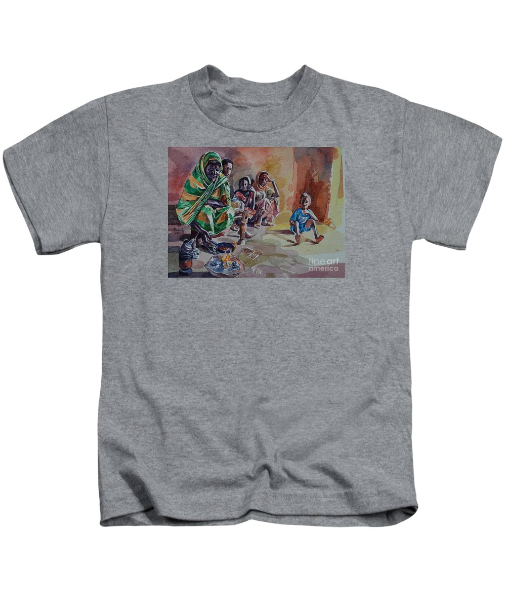 Sudanese Coffee Kids T-Shirt featuring the painting Sudanese Coffee by Mohamed Fadul