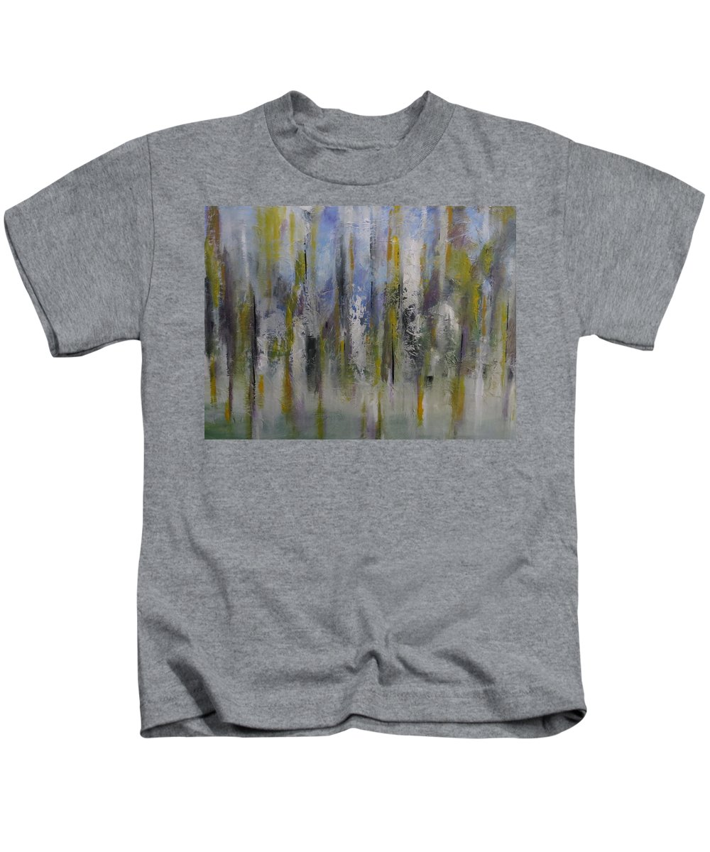 Abstract Kids T-Shirt featuring the painting Suddenly by Soraya Silvestri