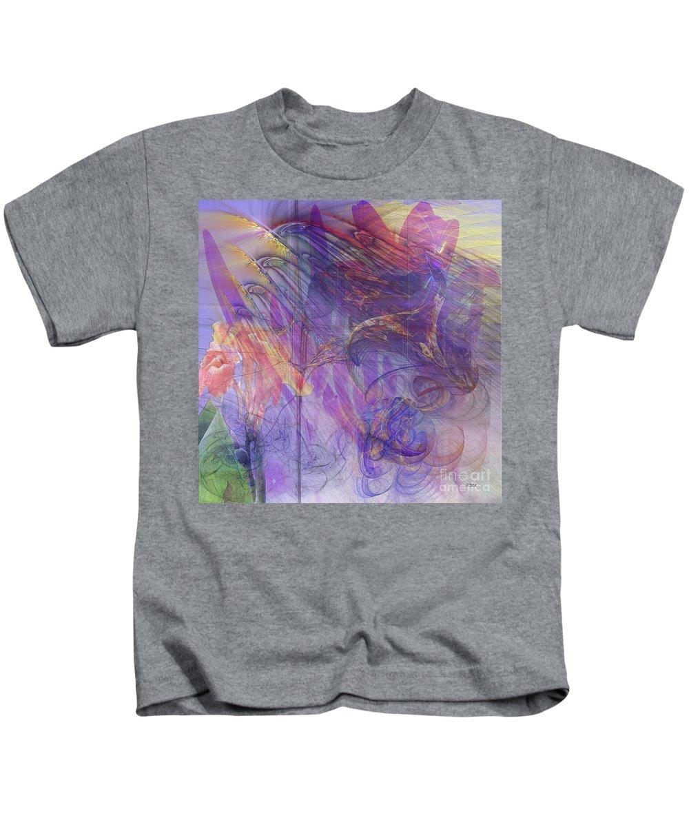 Floral Kids T-Shirt featuring the digital art Summer Awakes - Square Version by John Robert Beck