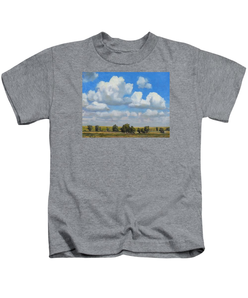 Landscape Kids T-Shirt featuring the painting Summer Pasture by Bruce Morrison