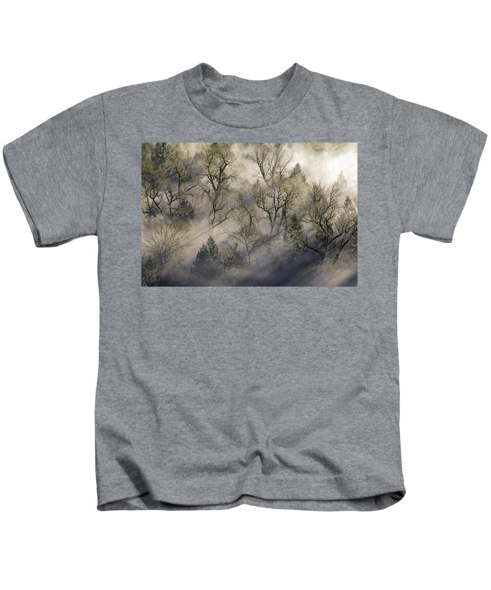 Jonsrud Kids T-Shirt featuring the photograph Sun Rays Through The Morning Mist by David Gn