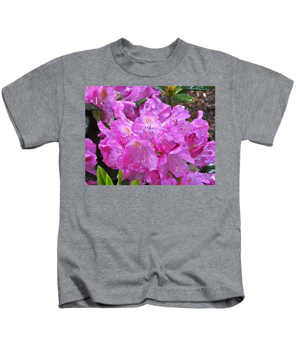 Rhododendron Blossoms Kids T-Shirt featuring the photograph Sun Showers by Ira Shander