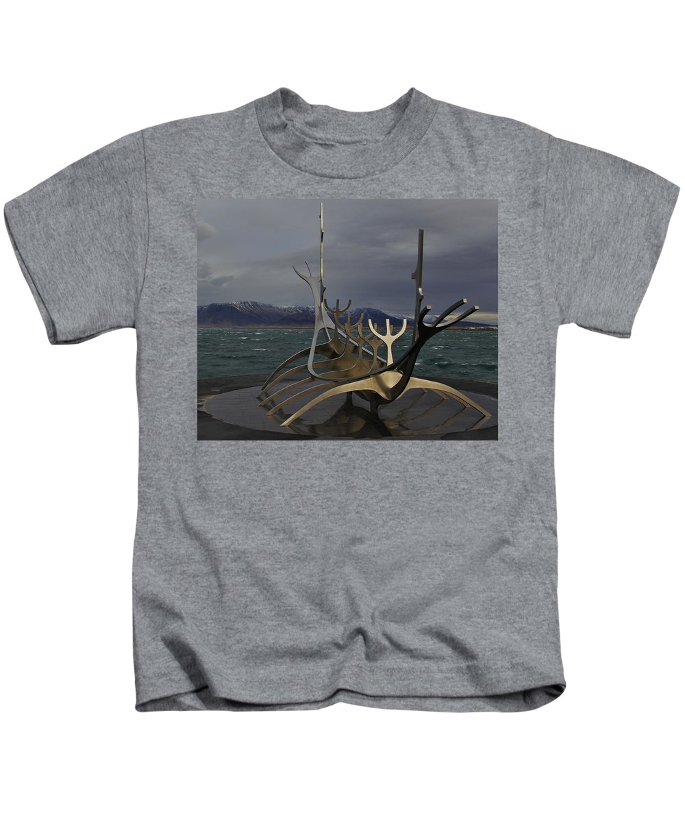 Sun Voyager Kids T-Shirt featuring the photograph Sun Voyager Reykjavik by Mo Barton