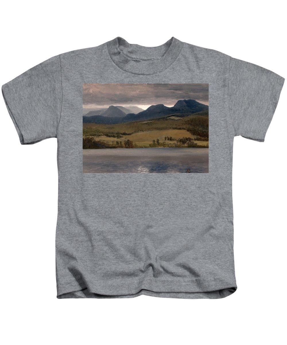 Albert Bierstadt Kids T-Shirt featuring the painting Sundown On The Lake.thought To Be Lake Tahoe by Albert Bierstadt