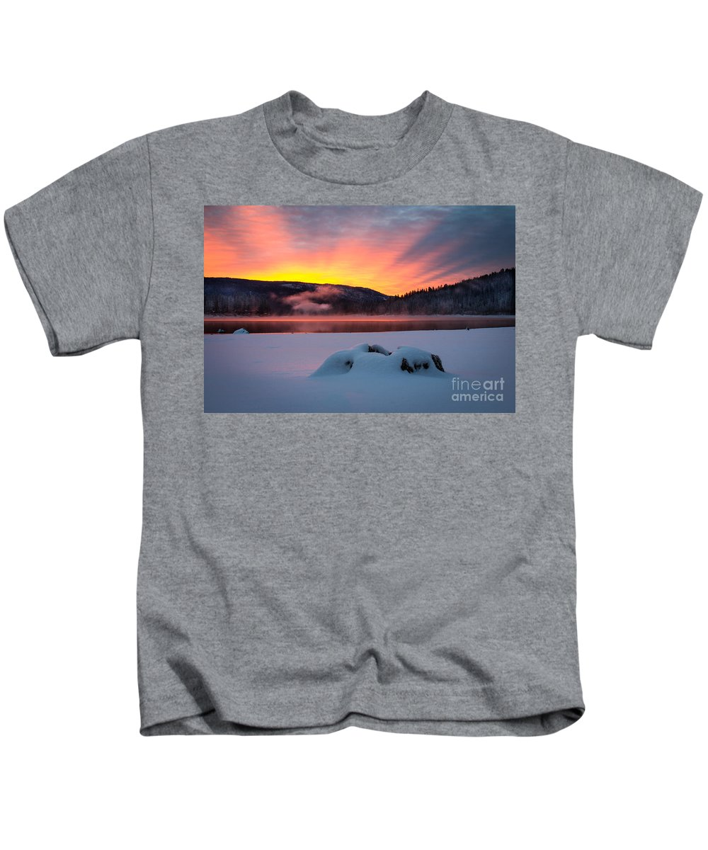 Bass Lake Kids T-Shirt featuring the photograph Sunrise At Bass Lake by Vincent Bonafede