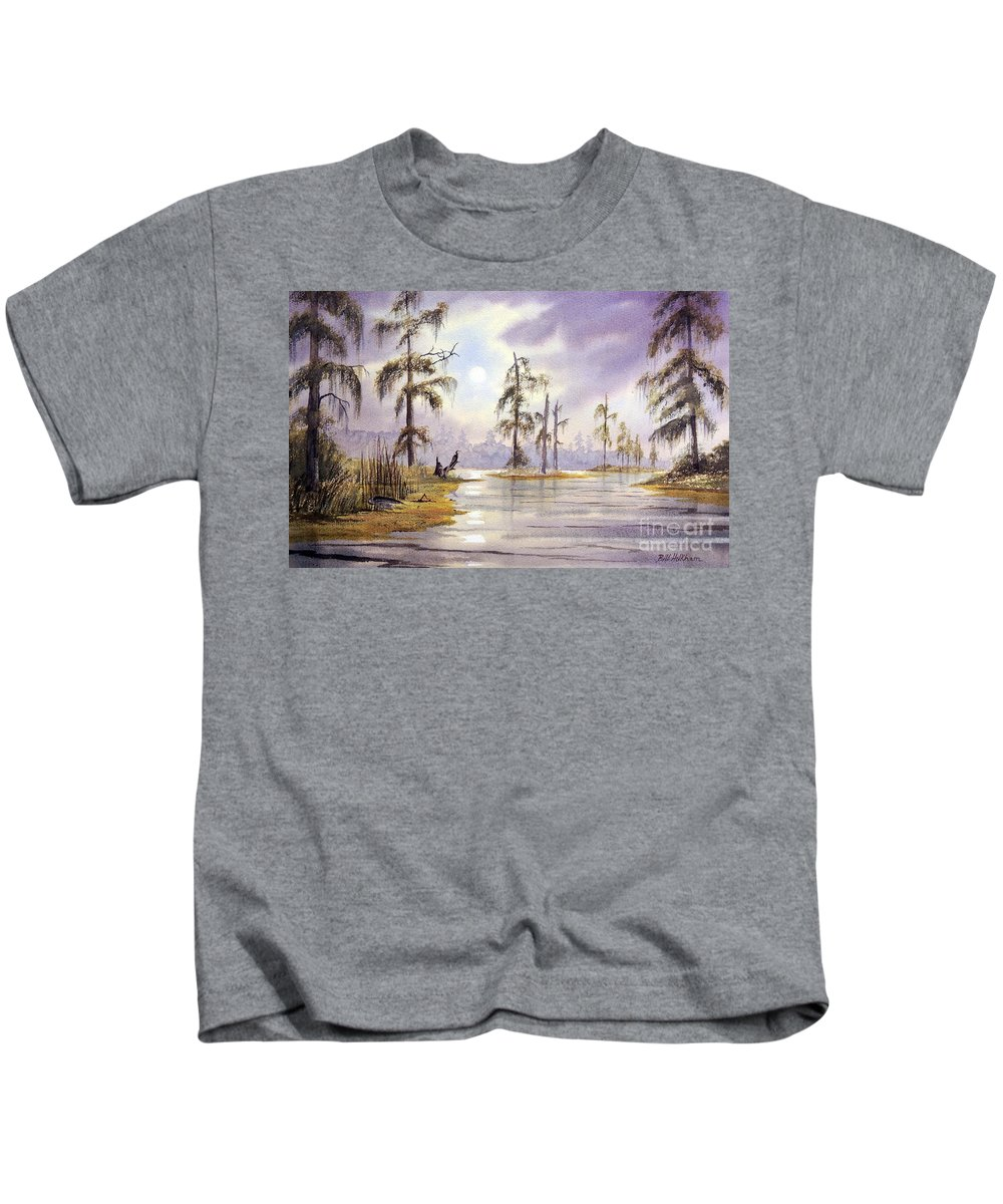 Edward Ball Wakulla Springs State Park Kids T-Shirt featuring the painting Sunrise Over Wakulla River by Bill Holkham
