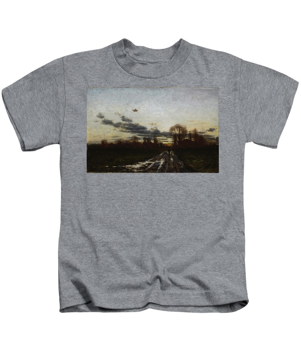 Theodore Clement Steele Kids T-Shirt featuring the painting Sunrise by Theodore Clement Steele