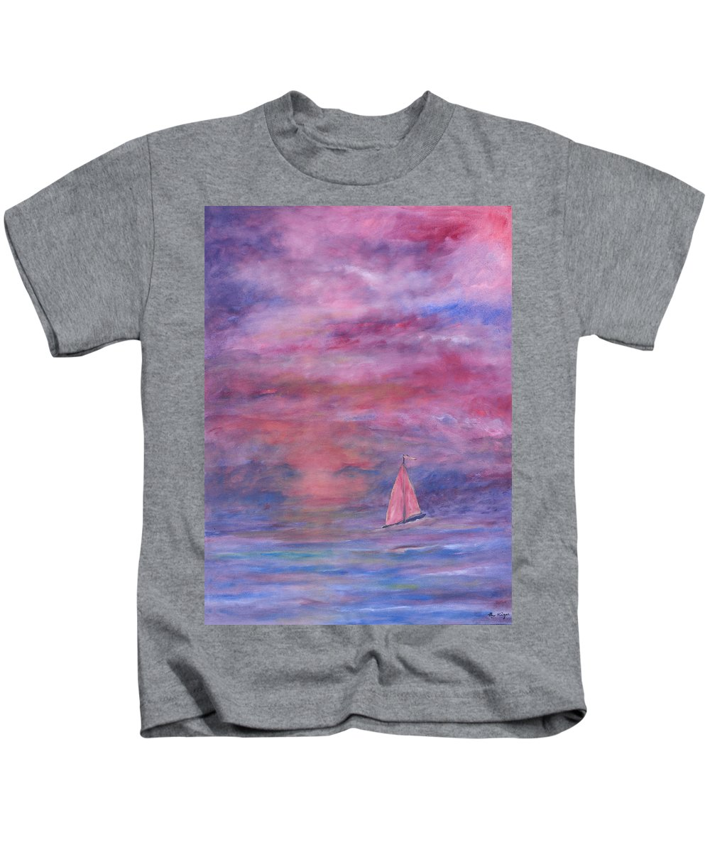 Saling Kids T-Shirt featuring the painting Sunset Adventure by Ben Kiger