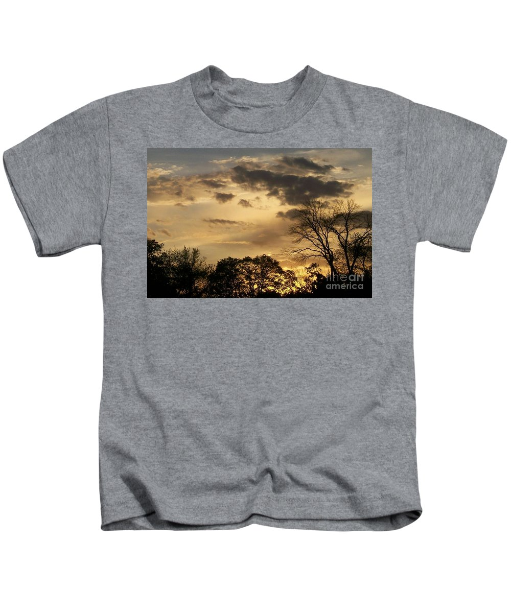 Sunset Kids T-Shirt featuring the photograph Sunset Fire by Laurie Eve Loftin