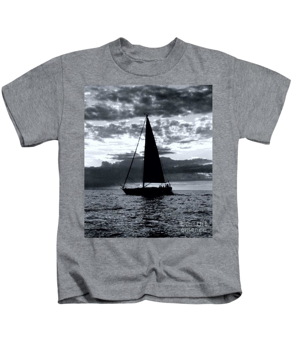Sailing Kids T-Shirt featuring the photograph Sunset Sailing -2 by Kathleen Struckle