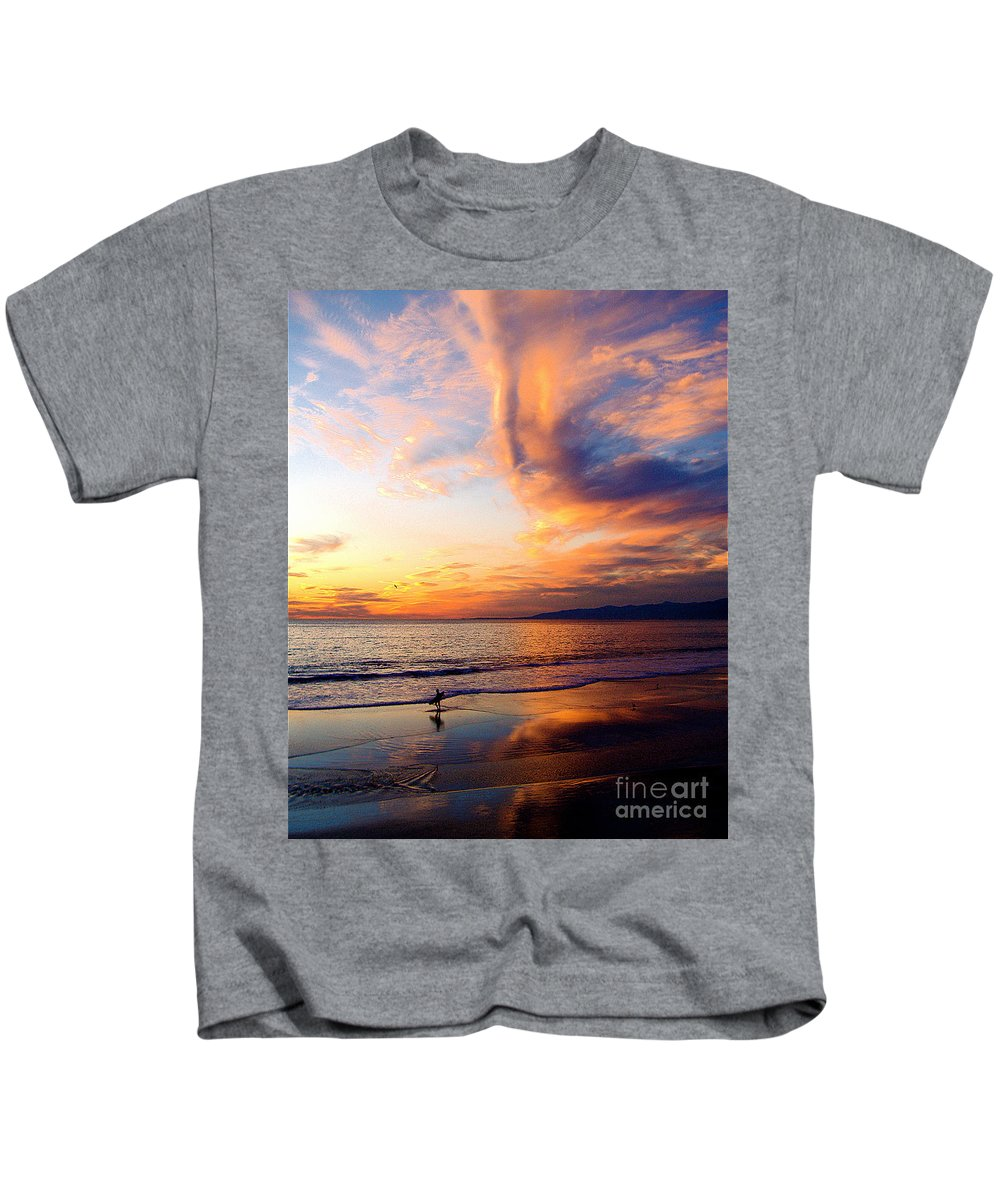 Surf Kids T-Shirt featuring the photograph Sunset Surfing by Jerome Stumphauzer