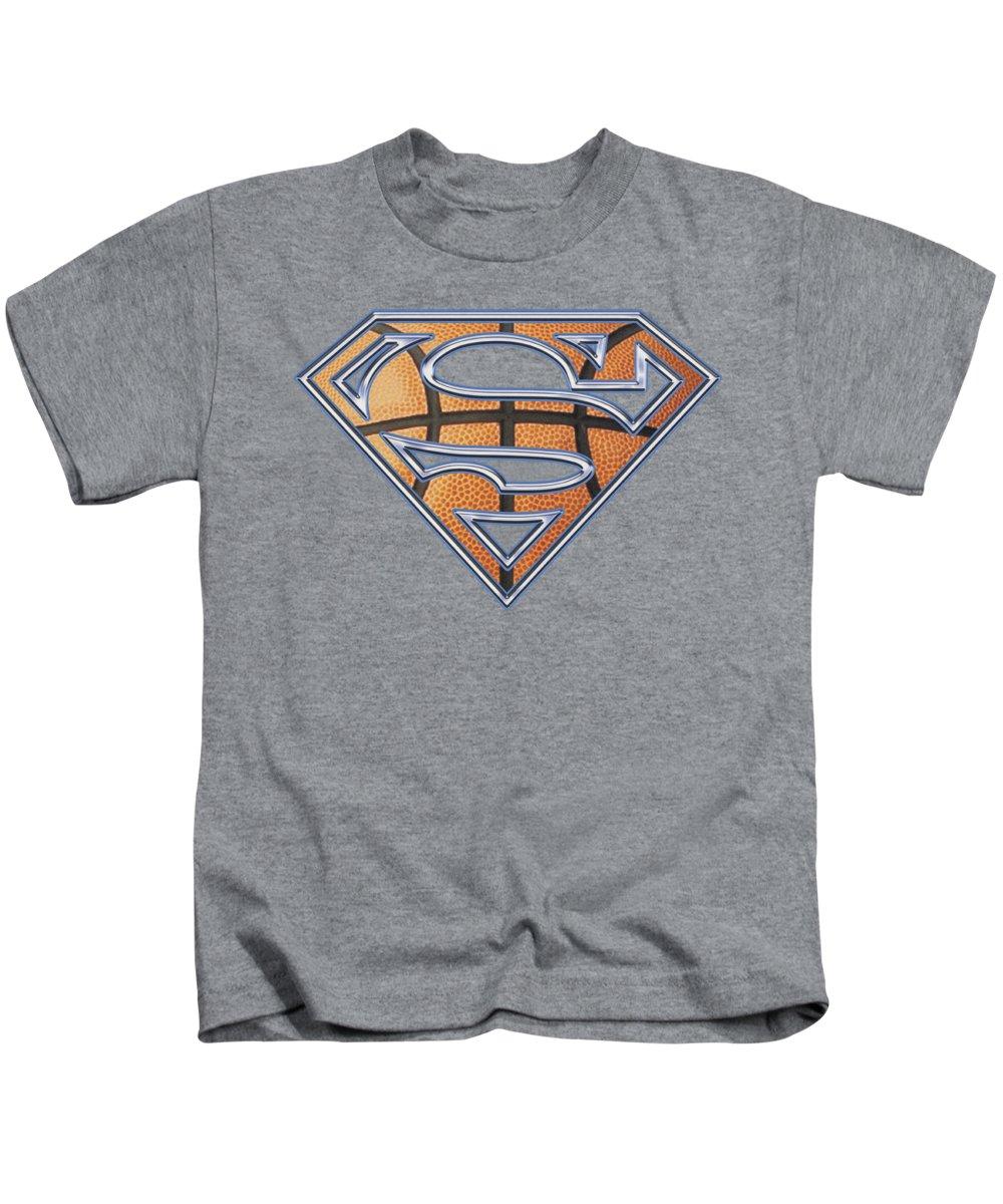Superman Kids T-Shirt featuring the digital art Superman - Basketball Shield by Brand A