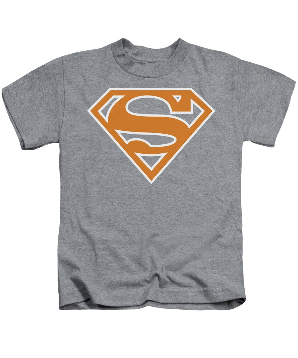 Superman Kids T-Shirt featuring the digital art Superman - Burnt Orangeandwhite Shield by Brand A