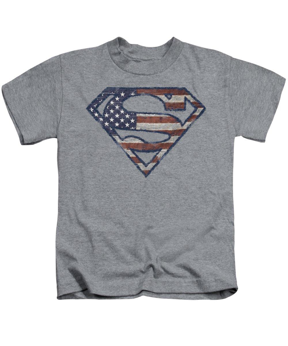 Superman Kids T-Shirt featuring the digital art Superman - Wartorn Flag by Brand A