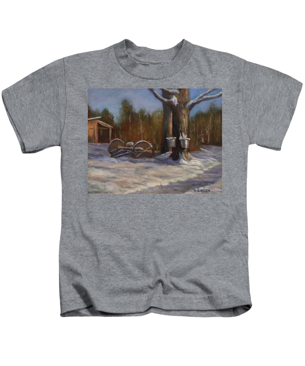 Sap Buckets Kids T-Shirt featuring the painting Sure SIgns of Spring by Sharon E Allen
