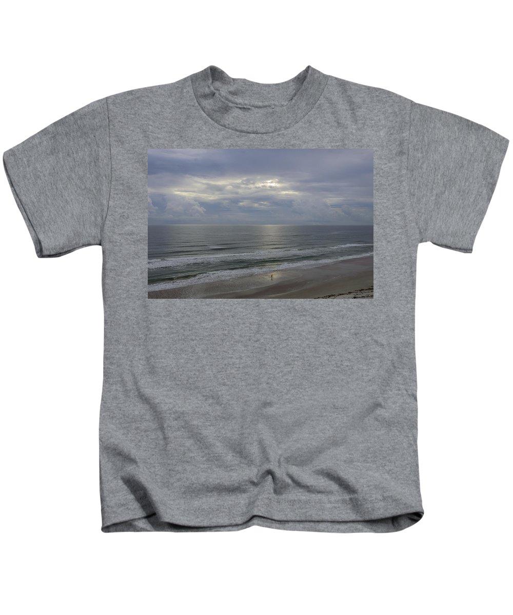 Daytona Kids T-Shirt featuring the photograph Surf Fishing At Dawn by Steve Samples