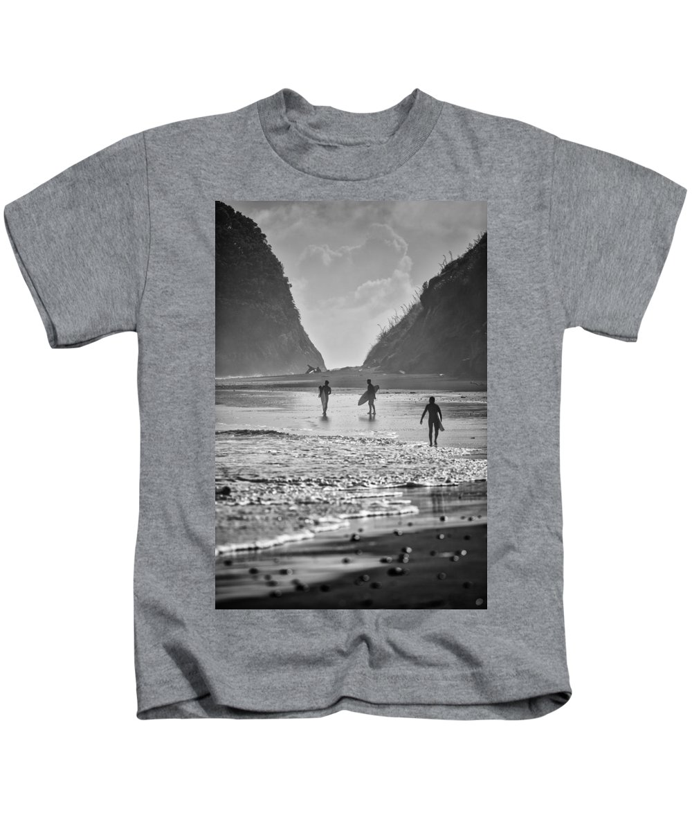 B&w Kids T-Shirt featuring the photograph Surfers by Russ Dixon