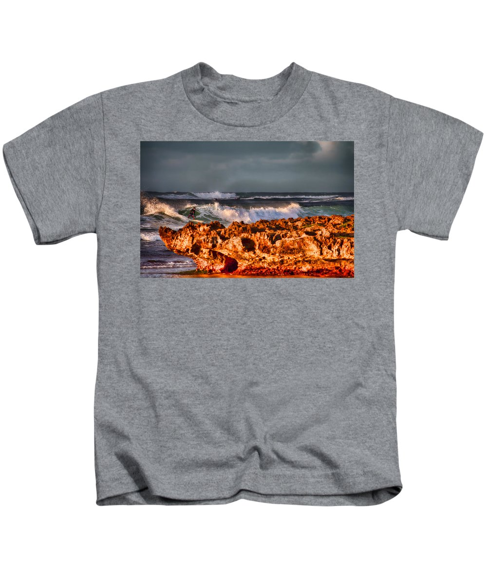 Surfer Kids T-Shirt featuring the photograph Surfing In The Usa V12 by Douglas Barnard