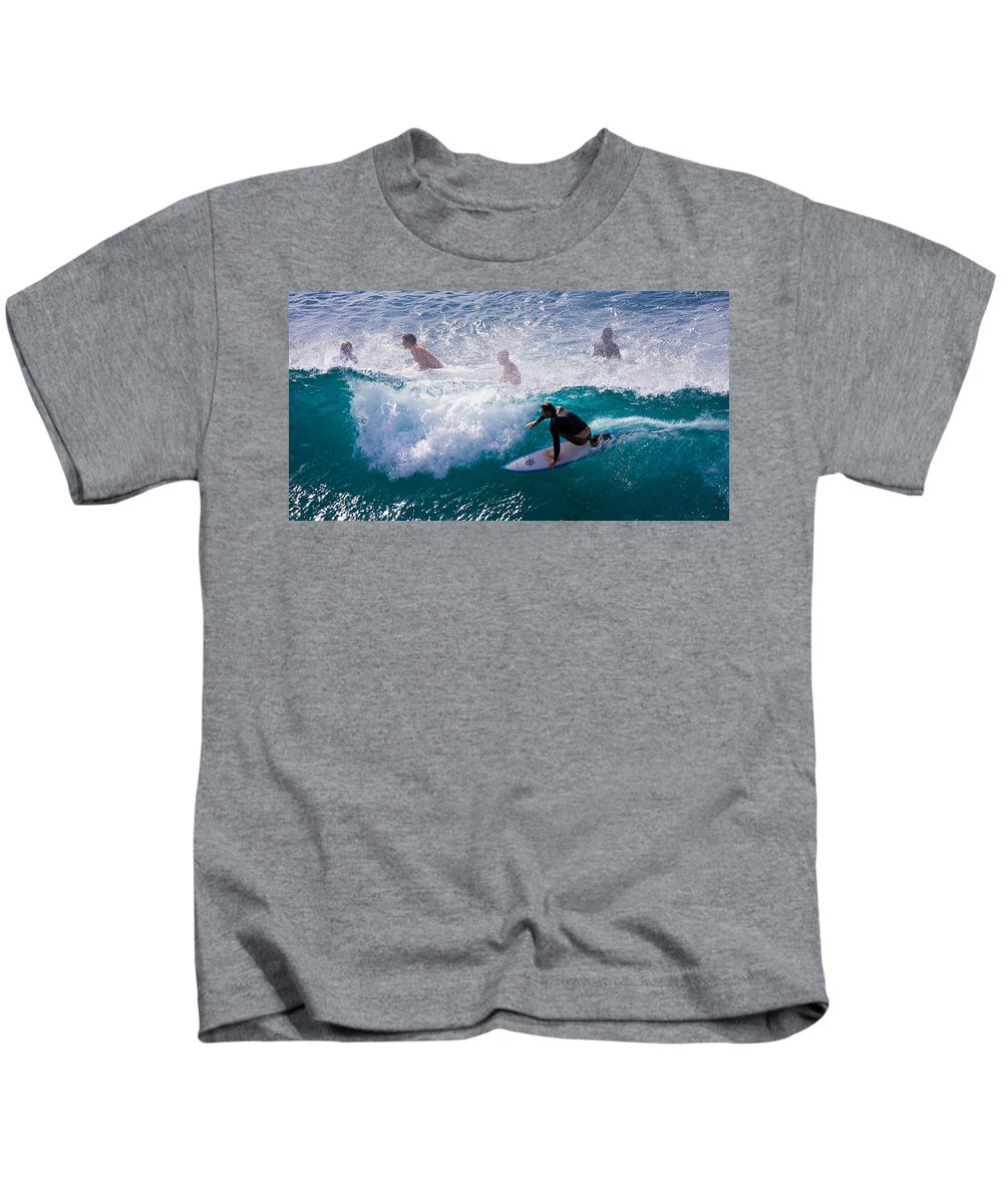 3scape Photos Kids T-Shirt featuring the photograph Surfing Maui by Adam Romanowicz
