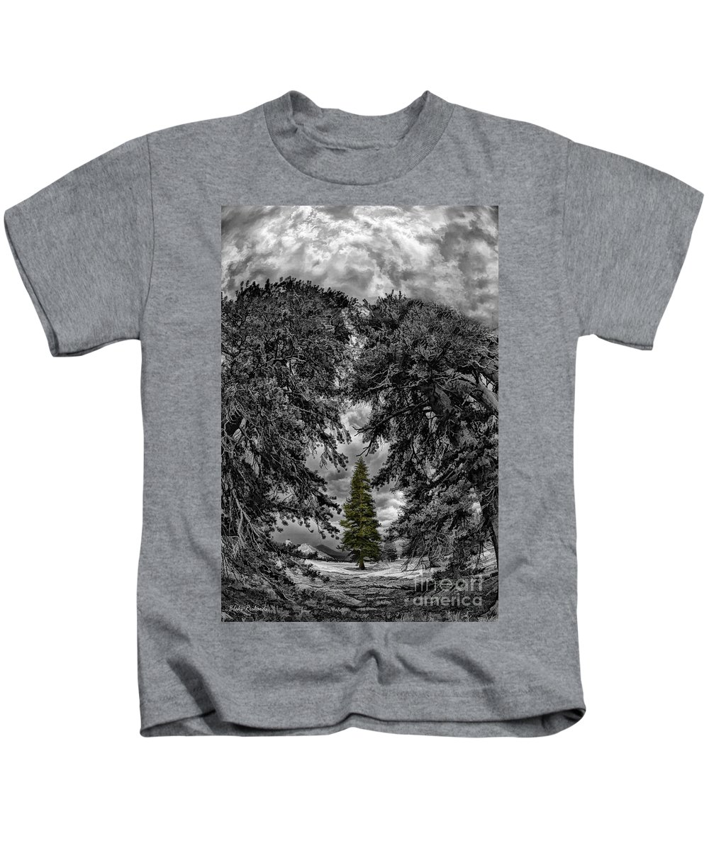 Kids T-Shirt featuring the photograph Surrounded Green Tree by Blake Richards