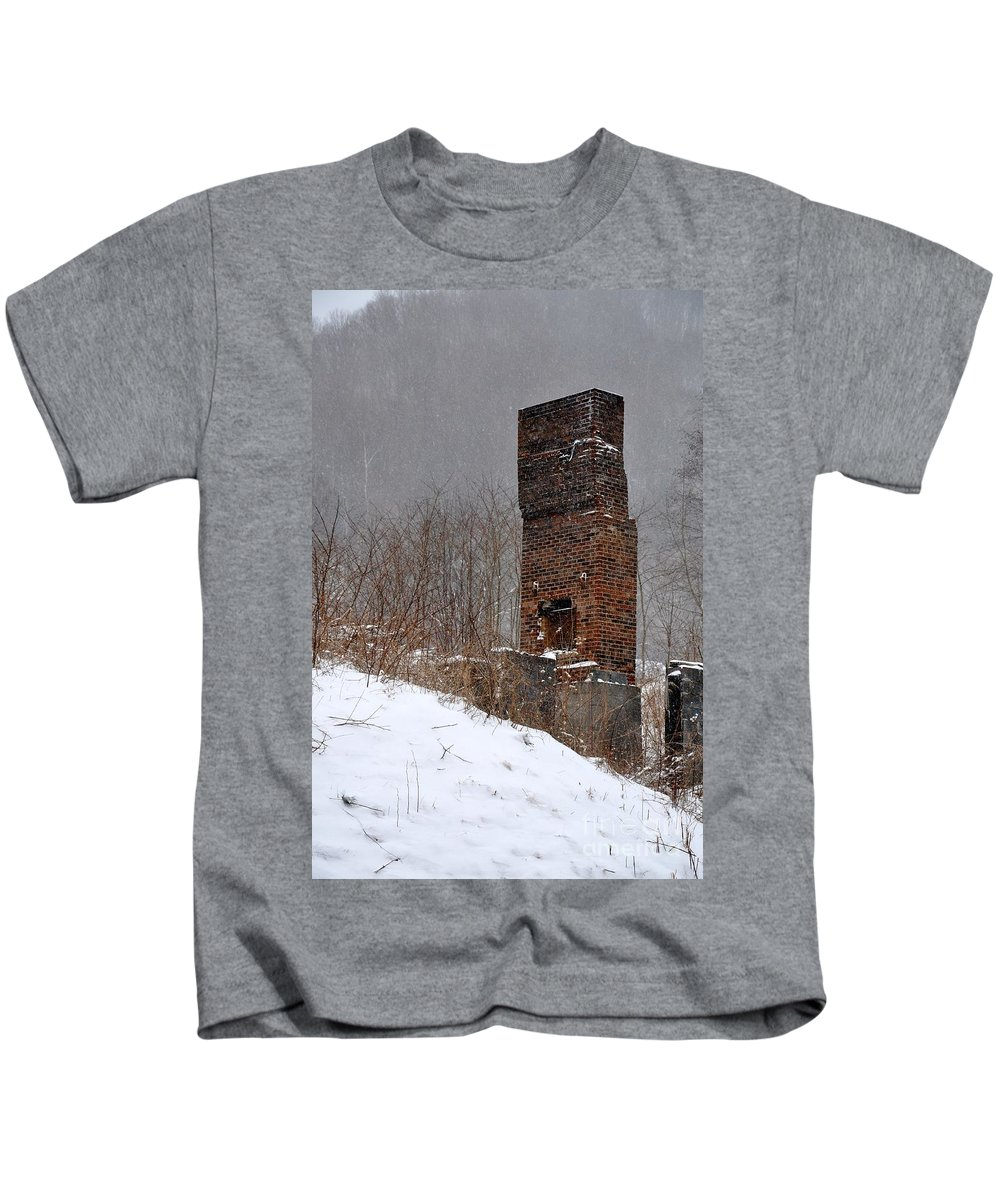Chimney Kids T-Shirt featuring the photograph Sutherland Chimney In Winter Number One by Christina McKinney