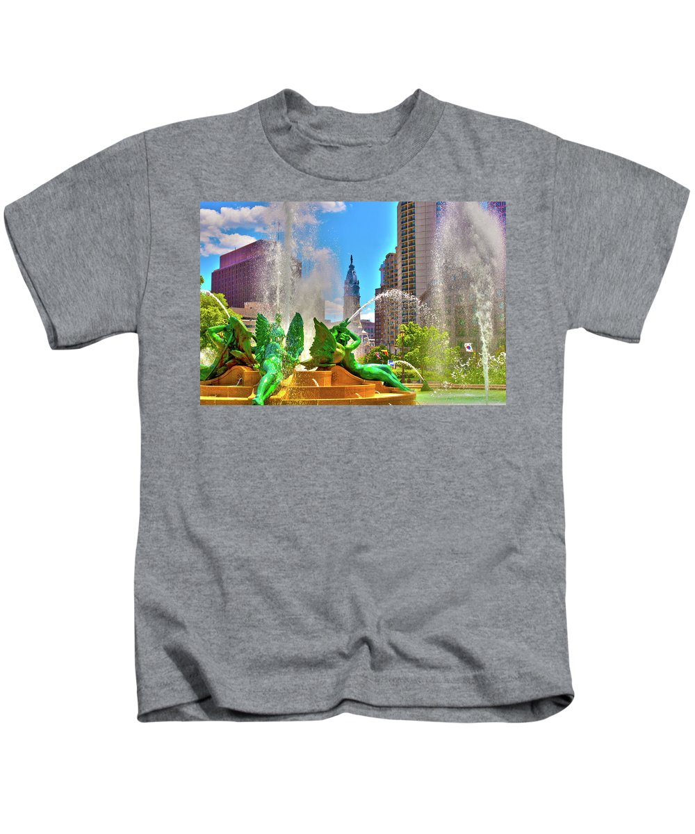 Circle Kids T-Shirt featuring the photograph Swann Memorial Fountain - Hdr by Lou Ford