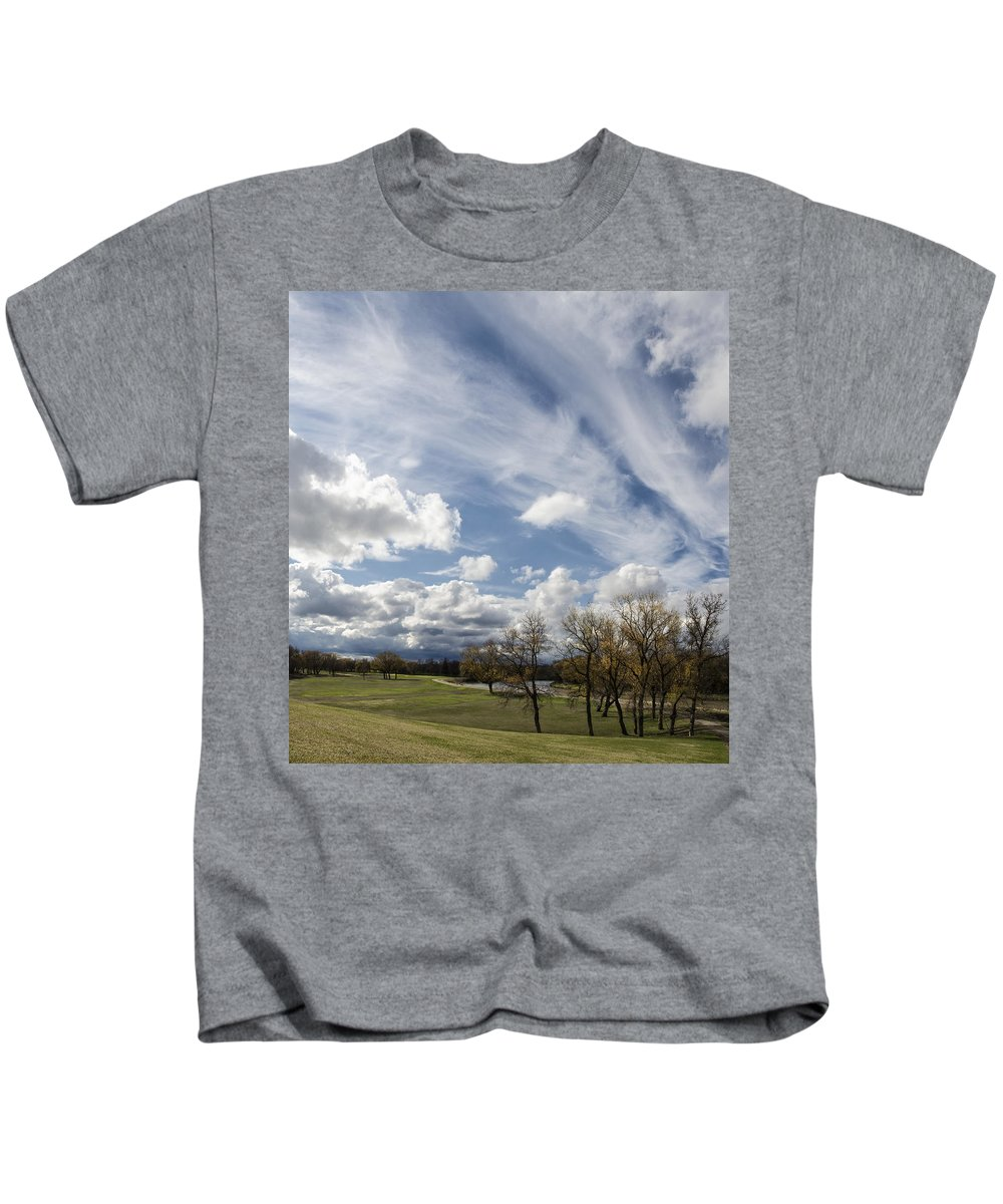 Clouds Kids T-Shirt featuring the photograph Sweeping Heaven by Sandra Parlow