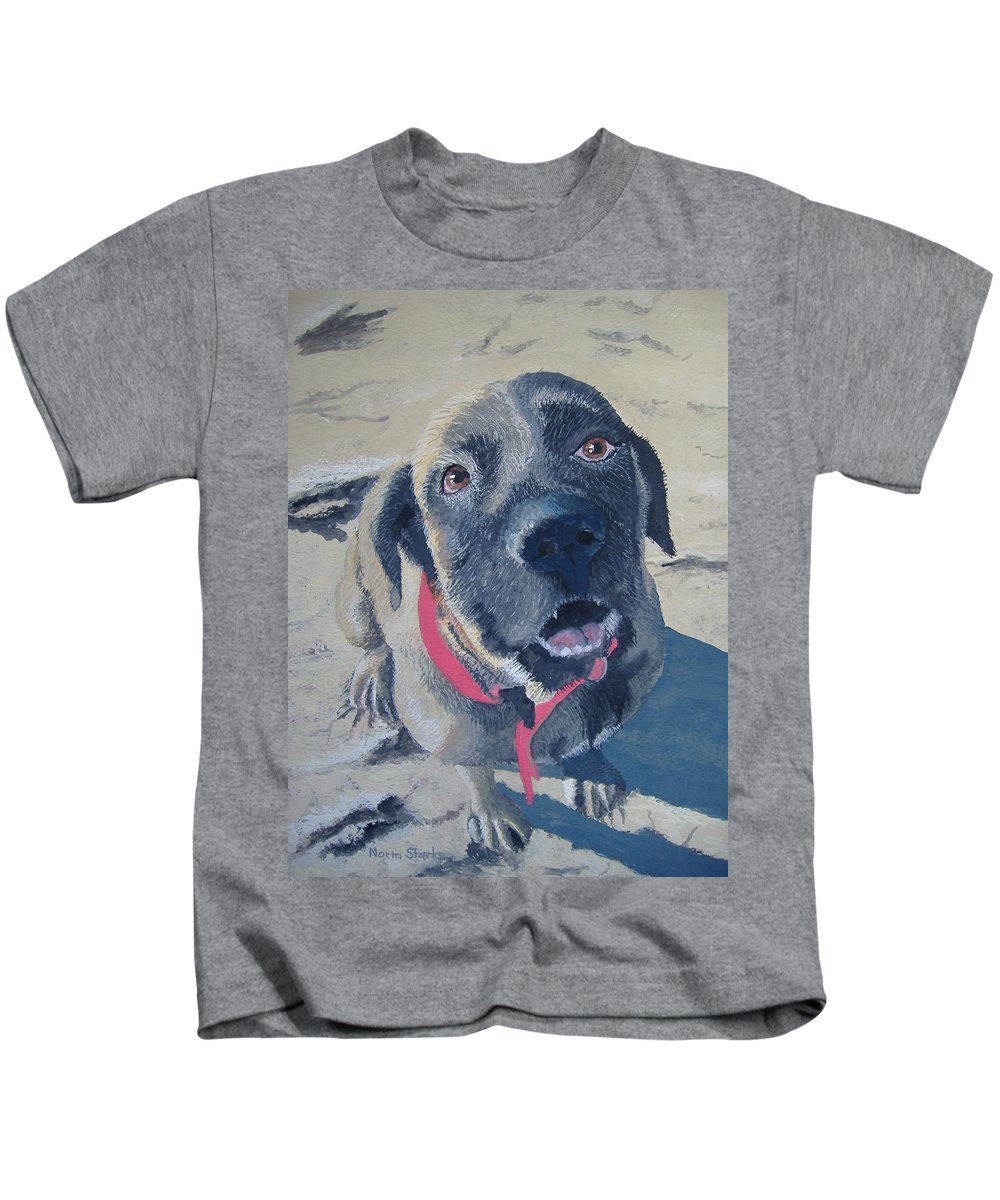 Dog Kids T-Shirt featuring the painting Sweet Pea by Norm Starks