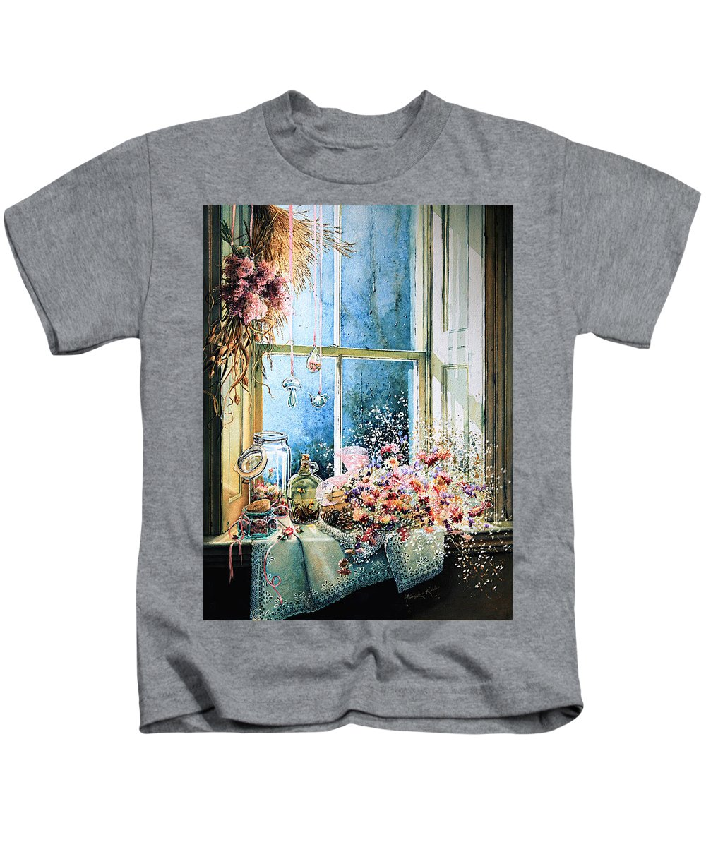 Window Kids T-Shirt featuring the painting Sweet Scents To Savor by Hanne Lore Koehler
