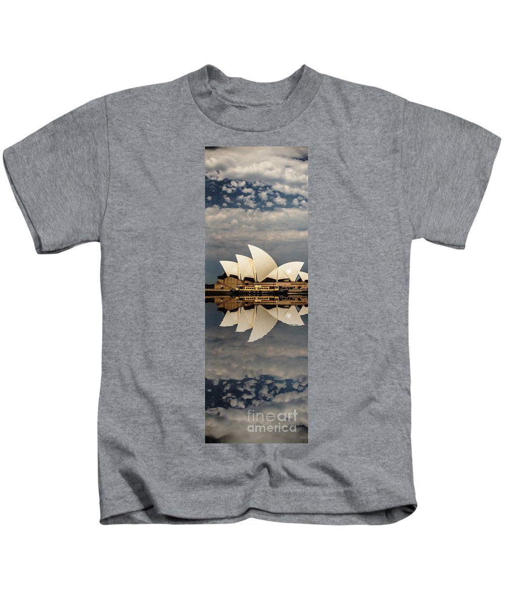 Sydney Opera House Kids T-Shirt featuring the photograph Sydney Opera House With Clouds by Sheila Smart Fine Art Photography
