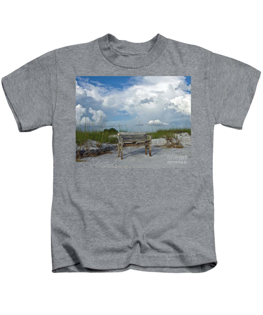 Bench Kids T-Shirt featuring the photograph Take A Seat by Stephen Whalen