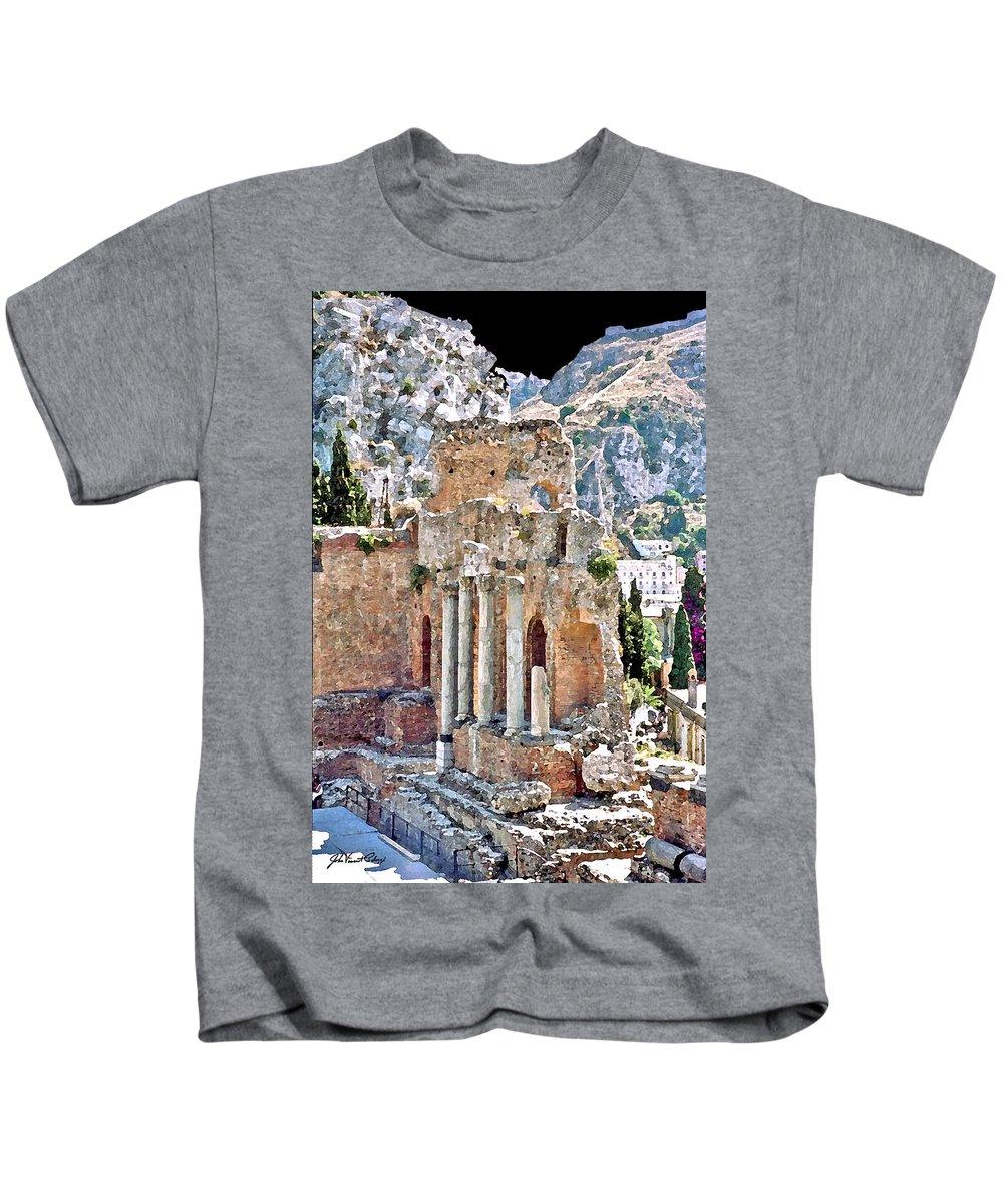 Taormina Kids T-Shirt featuring the digital art Taormina Amphitheater by John Vincent Palozzi