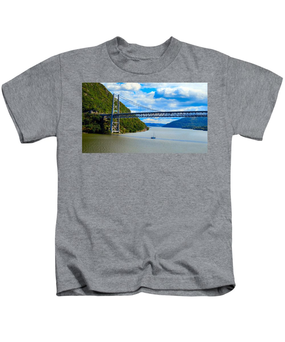 Sky Kids T-Shirt featuring the photograph Tappan Zee Span by Art Dingo