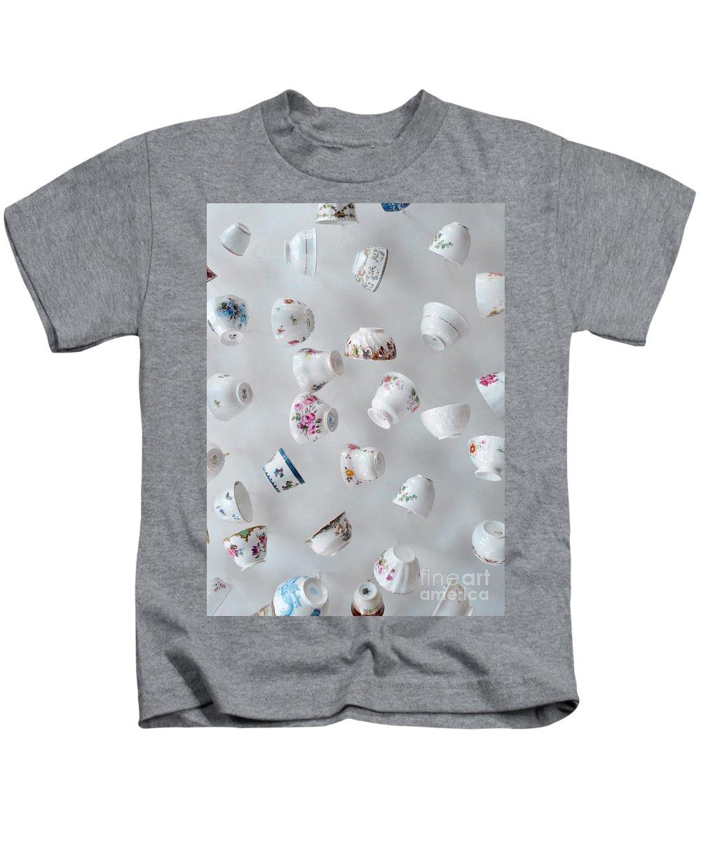 Tea Cups Kids T-Shirt featuring the photograph Tea Cups by Jill Battaglia