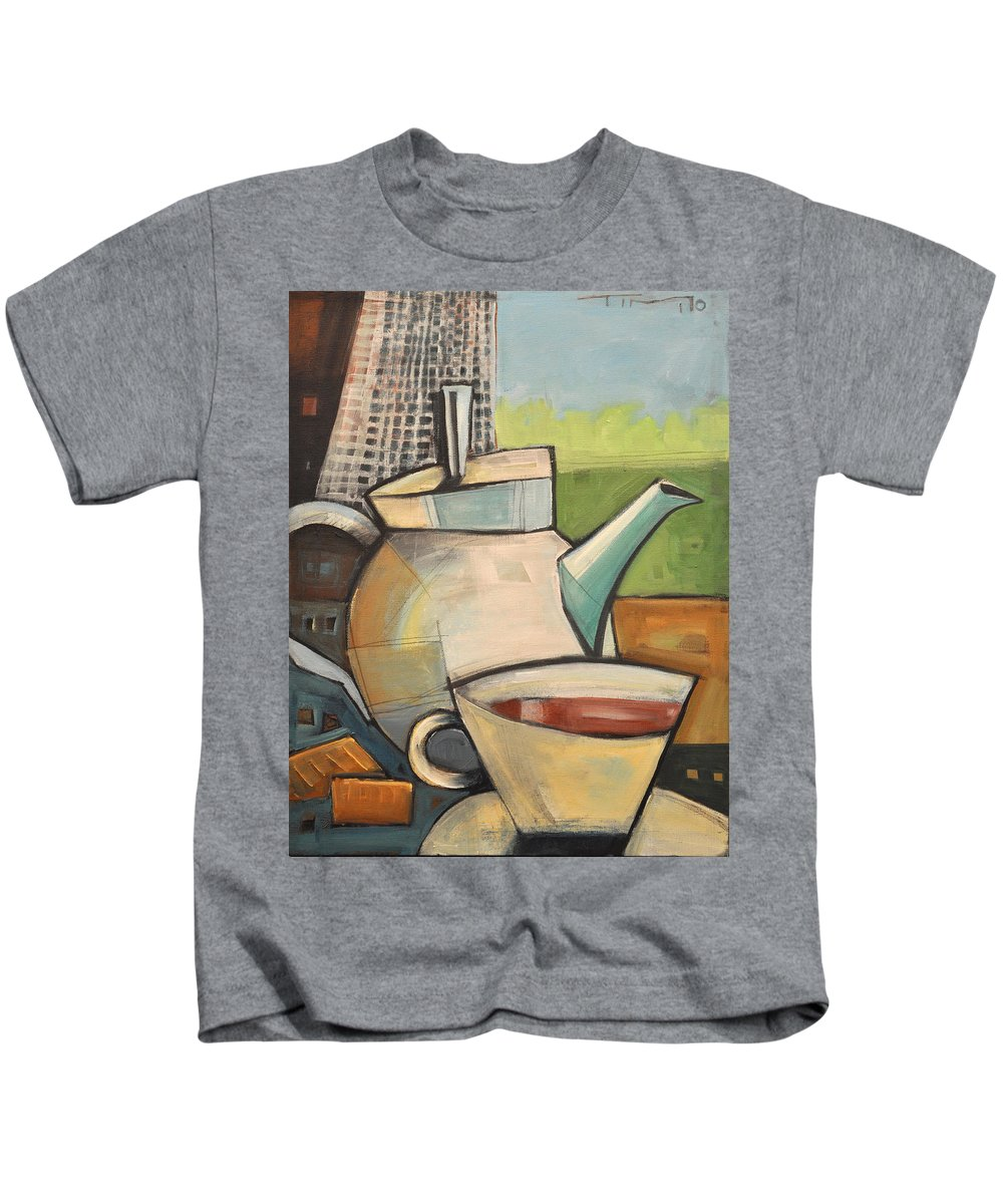 Tea Kids T-Shirt featuring the painting Tea Time by Tim Nyberg