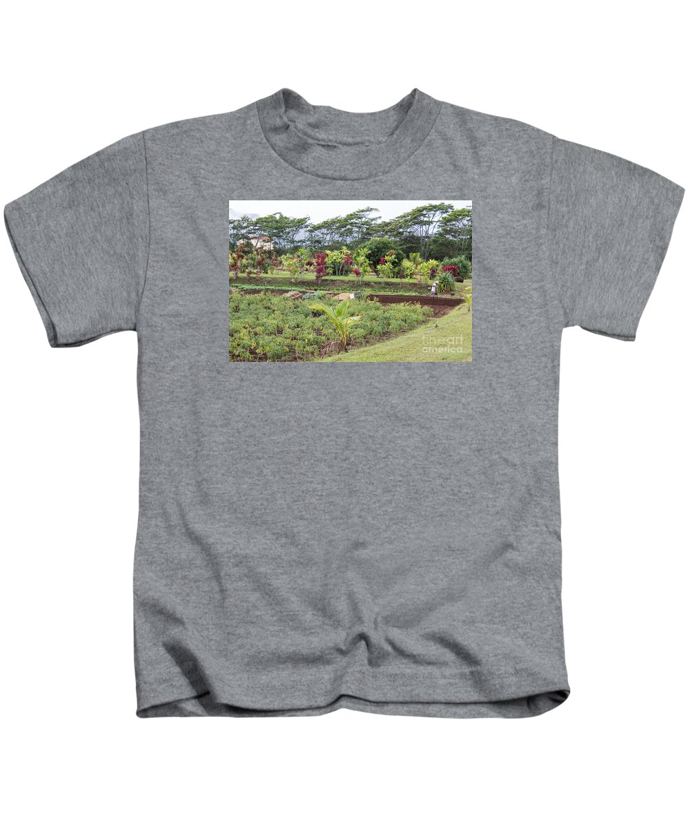 Kilohana Plantation Kids T-Shirt featuring the photograph Tending The Land by Suzanne Luft