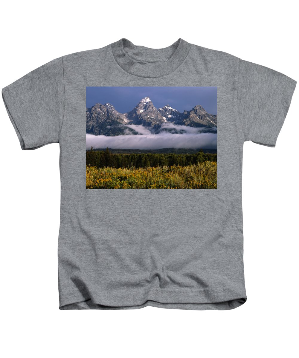 Fog Bank Kids T-Shirt featuring the photograph 1m9396-tetons Above Fog, Wy by Ed Cooper Photography