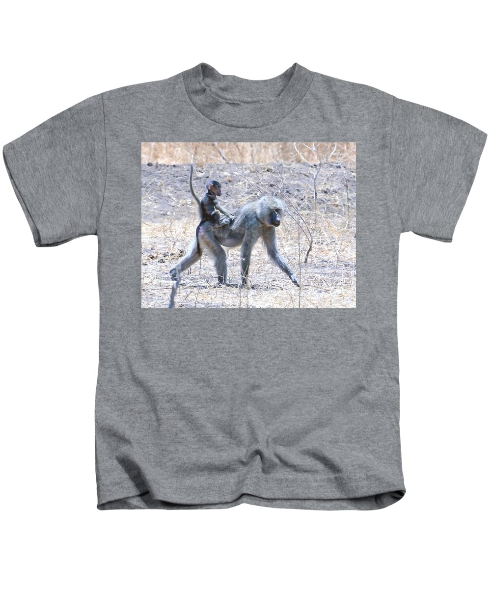 Family Kids T-Shirt featuring the photograph Thanks For The Ride Olive Baboon by Tom Wurl