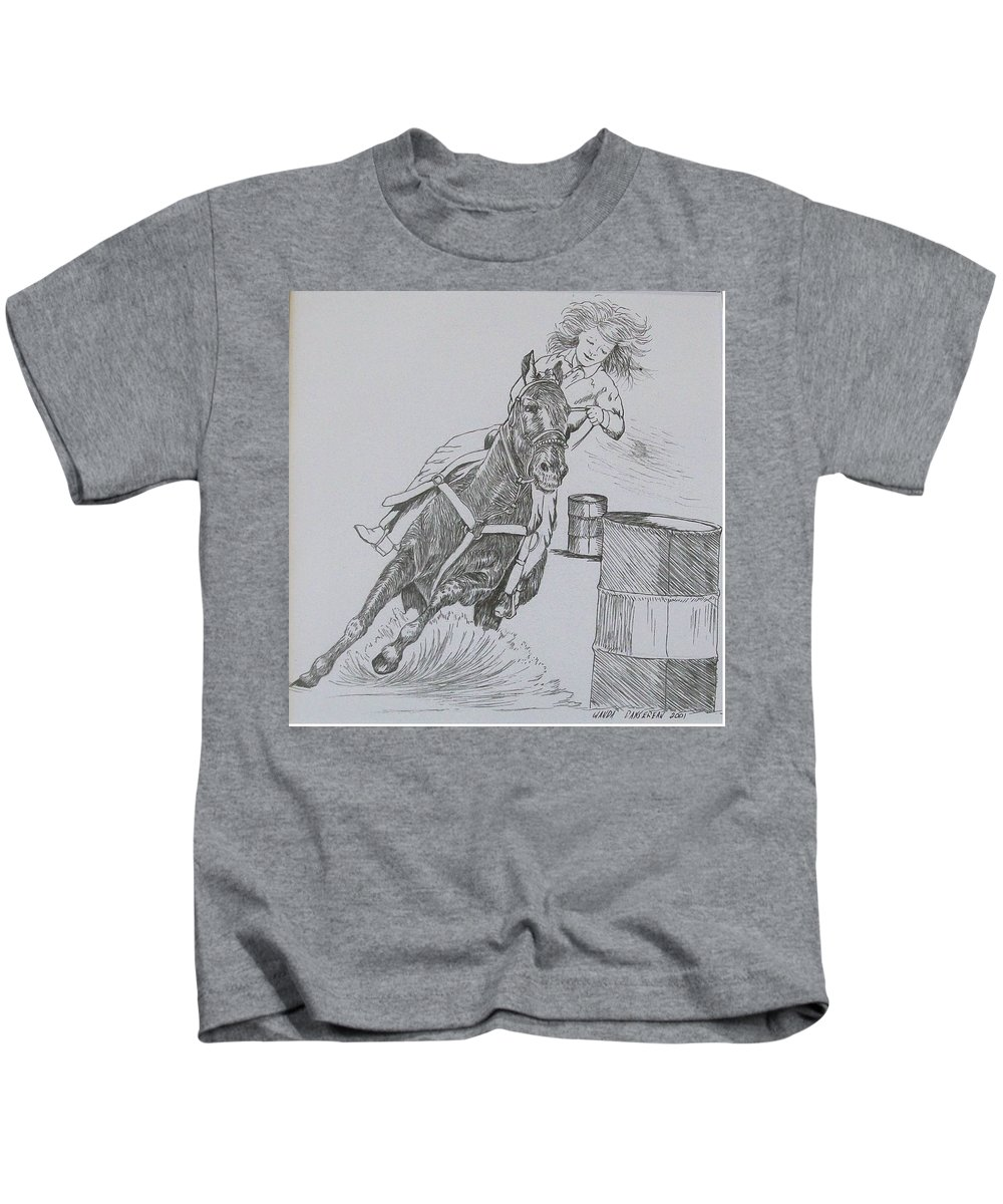 Black And Grey Black Poster Kids T-Shirt featuring the drawing The Barrel Racer by Wanda Dansereau
