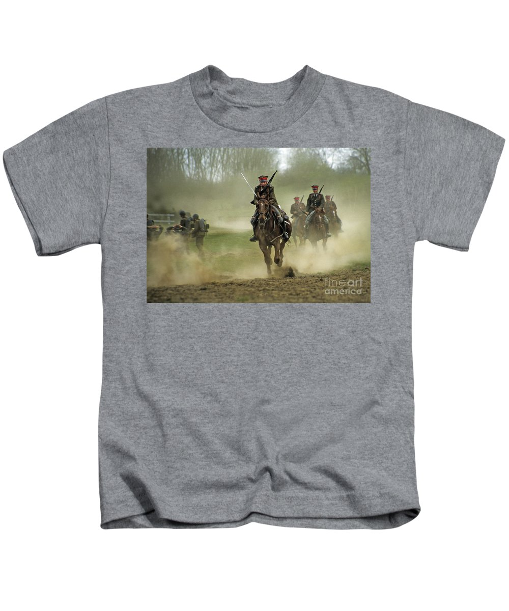 Cavalry Kids T-Shirt featuring the photograph The Battle by Angel Ciesniarska