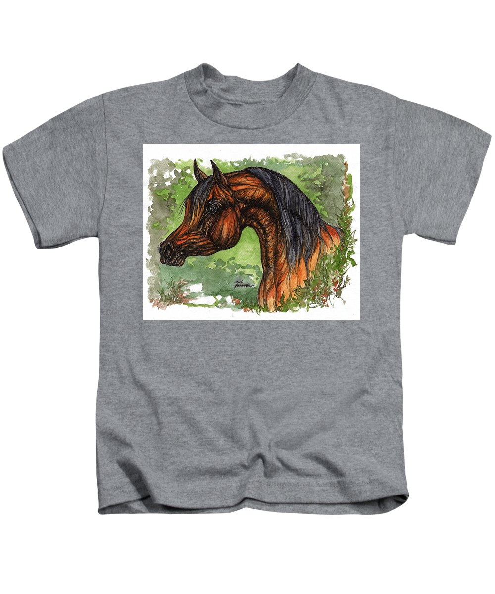 Psychodelic Kids T-Shirt featuring the painting The Bay Arabian Horse 1 by Angel Ciesniarska