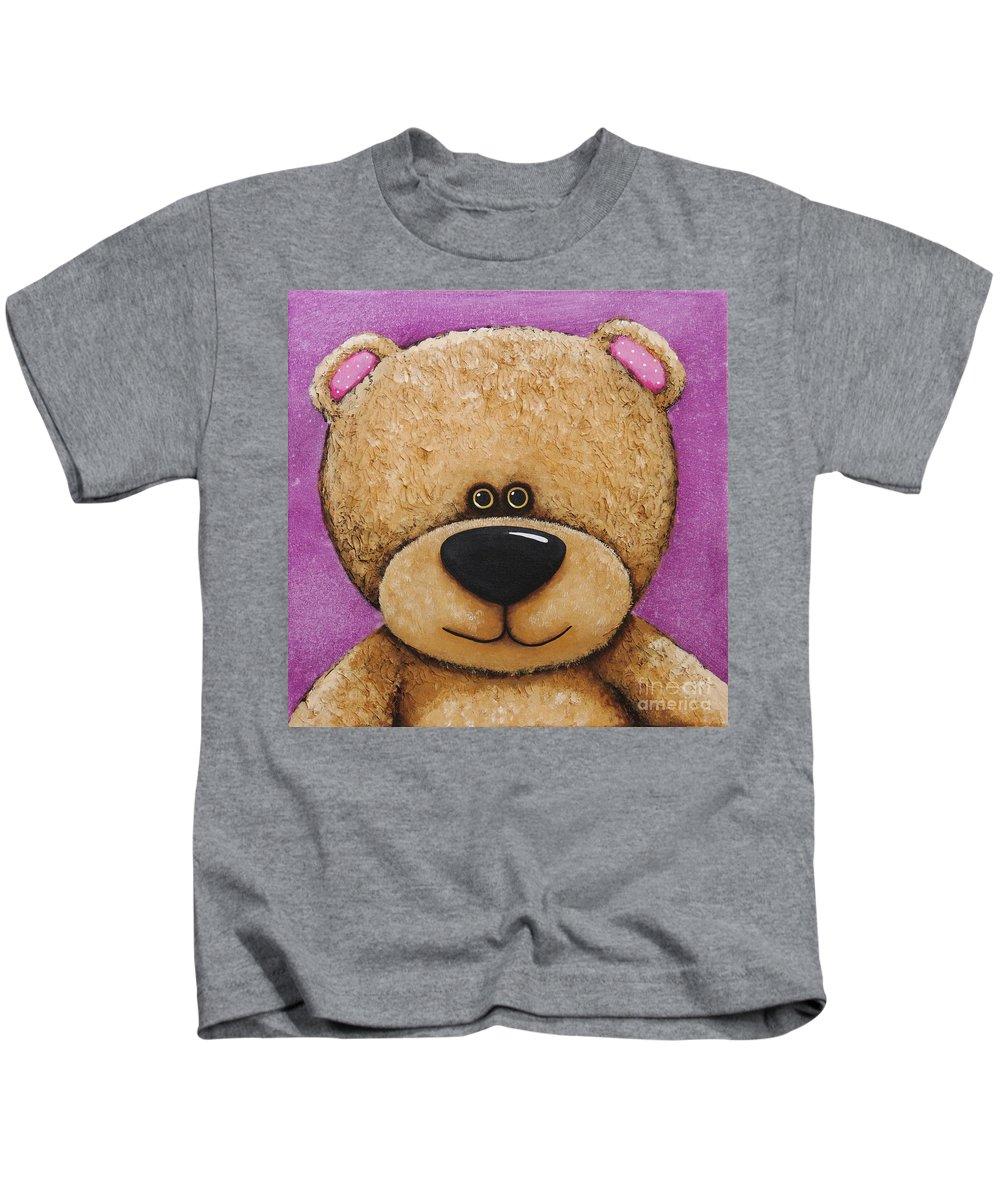 Teddy Bear Whimsical Bear Fun Art Children Kids Painting Acrylic Purple Kids T-Shirt featuring the painting The Big Bear by Lucia Stewart
