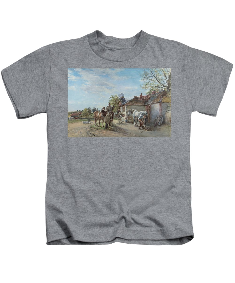 Rural Kids T-Shirt featuring the painting The Blacksmith by Mark Fisher