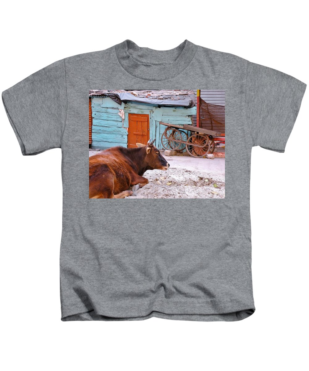 Barn Kids T-Shirt featuring the photograph The Blue Barn by Kim Bemis